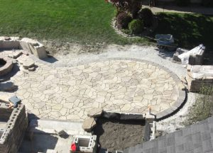 large stone patio under construction