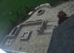 aerial view of a large stonework patio