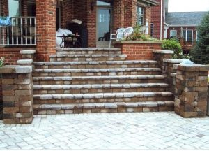brick walkway and steps