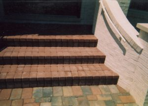 brick patio and steps