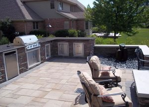 outdoor living bbq and dining space