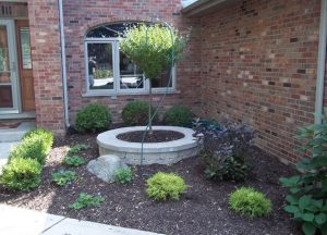 landscaping project with colorful flowers and bushes